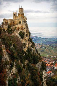 Cliff Top Castle, San Marino, Italy. #AmazingCastles #ItalianCastles
