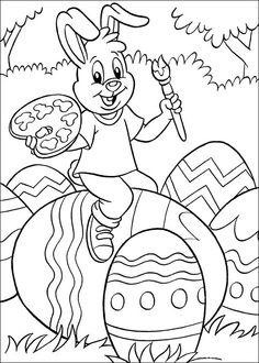 Зайчик разукрашивает пасхальные яйца - razukrashki.com