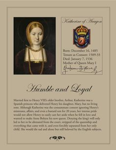 Katherine of Aragon, Queen of England. I greatly admire her faith. She was a very strong woman. Uk History, History Of England, Tudor History, European History, Women In History, British History, Asian History, History Facts, Funny History