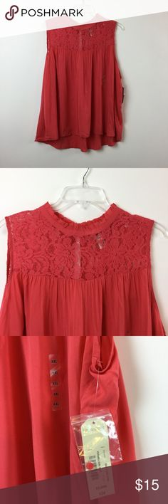 Arizona lace yoke vermillion red top flowy XXL $34 Arizona Jeans women's/ juniors  top Size XXL Vermillion red / rose Lace yoke detail New with tags  Very cute comfy, and a soft flowy fabric.   Measures: Armpit to armpit 25.50 Collar to hem 27.5 Arizona Jean Company Tops Blouses