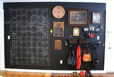 LOVE this chalkboard calendar and wall organization. Chalkboard Wall Calendars, Blackboard Wall, Chalk Wall, Calendar Wall, Chalkboard Paint, Chalk Board, Giant Calendar, Chalk Paint, Family Calendar