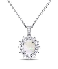 Love this White Opal & Diamond Pendant Necklace on #zulily! #zulilyfinds