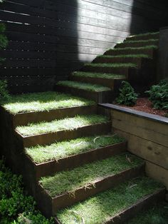 Corten step and sod stairs / steps / treads / rails ландшафт Eco Garden, Hillside Garden, Garden Steps, Terrace Garden, Garden Pool, Garden Paths, Landscape Elements, Green Landscape, Landscape Architecture