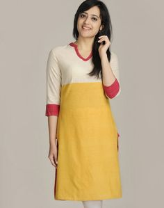 Cotton Khadi Empireline Contrast Yoke Long Kurta