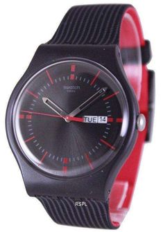 Features: Black Plastic Case Black Patterned Silicone Strap Swiss Quartz Movement Mineral Crystal Black Dial Red Stick And Hour Markers Day And Date Display Pull/Push Crown Solid Case Back Tang Clasp 30M Water Resistance Approximate Case Diameter: 42.7mm Approximate Case Thickness: 9.85mm Swatch, Swiss Watch Brands, Red Bar, Authentic Watches, Online Watch Store, Black Pattern, Watch Sale, Krystal, Plastic Case