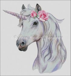 Unicorn with roses fantasy mythical creature horse counted | Etsy Kid Drawings, Animal Drawings, Drawing Sketches, Cross Pictures, Pictures To Draw, Counted Cross Stitch Patterns, Drawing For Kids, Colorful Pictures, Mythical Creatures