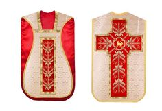 Agnus dei embroidered golden red #roman #chasuble