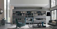 Contemporary TV wall unit / metal / lacquered / modular URBAN by Iriam Bettera MisuraEmme Best Wordpress Themes, Wall Design, Bookshelves, Sweet Home, New Homes, Contemporary, Living Room, Interior Design, Furniture