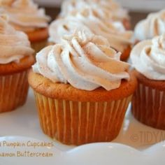 Vanilla Pumpkin Cupcakes with Cinnamon Butter Cream Frosting