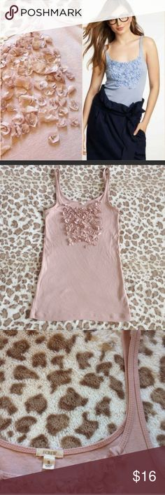 J. Crew Pink Flower Perfect Tank, Dusty Pink Tank by j crew 100% cotton and 100% silk petals. New condition! Super stretchy and soft. This is true J crew not factory 💕👍 this top is in pink and stock photo is to show the fit, sold out in all colors online! J. Crew Tops Tank Tops