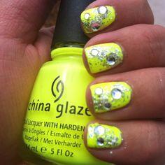 Vegas rhinestone nails