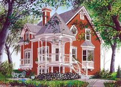 Country Farmhouse Victorian House Plan 65250