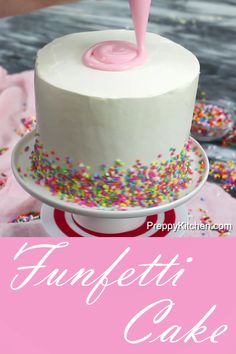 What is a Funfetti Cake? It's a moist vanilla cake with extra sprinkles and topped with pink ganache #preppykitchen #funfetticake #bestfunfetticake #birthdaycake #cakedecorating #cakerecipes