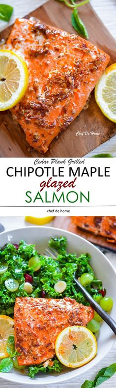 Smokey spicy chipotle and sweet maple syrup glazed salmon, grilled on cedar plank and served with a lite and healthy green kale and grape salad.