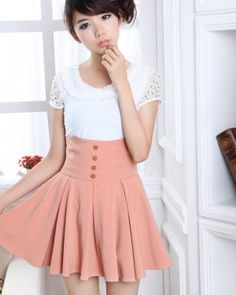 Pink High Weist Globed Cute Korean Fashion Summer Skirt