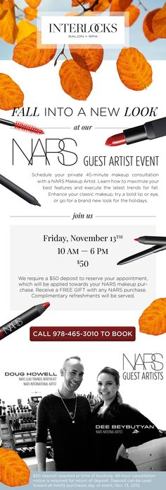 Fall into a new look at our November 13, 2015 NARS Makeup Event! | INTERLOCKS Salon + Spa