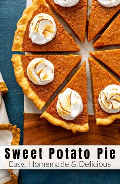 This creamy homemade Sweet Potato Pie Recipe is an ultimate Southern classic made with baked sweet potatoes butter milk eggs brown sugar cinnamon nutmeg Homemade Sweet Potato Pie, Vegan Sweet Potato Pie, Sweet Potato Recipes, Sweet Potato Pumpkin Pie Recipe, Southern Sweet Potato Pie, Sweet Potato Pie Filling, Sweet Potato Dessert, Easy Pie Recipes, Apple Recipes