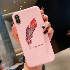 iPhone Cute Phone Cases - Black Iphone 8 Case - Ideas of Black Iphone 8 Case - Moskado Silicone Feather Case For iPhone 7 8 Plus XS Max XR Xs Letter Phone Cases For iPhone X 8 7 6 Plus Soft TPU Back Cover Outfit Accessories From Touchy Style