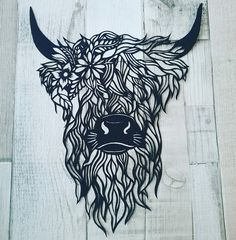 Papercut Highland Cow with Flowers Bull Tattoos, Taurus Tattoos, Body Art Tattoos, Highland Cow Tattoo, Highland Cow Art, Cow Drawing, Painting & Drawing, Galloway, Vegan Tattoo
