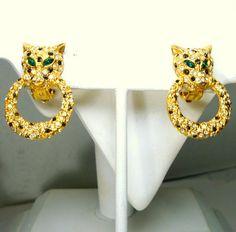 Leopard Head Clip Earrings Black Enamel on Gold Wild Cat