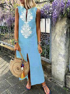 Plus Size Women Shift Daytime Sleeveless Casual Slit Geometric Dress Polka Dot Maxi Dresses, Plus Size Maxi Dresses, Casual Dresses, Shift Dresses, Peplum Dresses, Maxi Skirts, Linen Dresses, Floral Dresses, Summer Holiday Dresses
