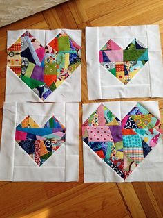 Scrappy Improv Heart Blocks | loaves and stitches