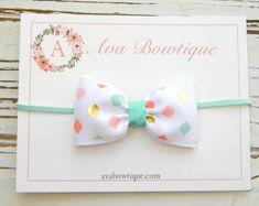 Baby Bow Headband - Newborn Bow Headband - Coral and Aqua Bow Headband