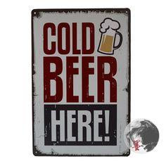 Cerveja gelada aqui Tin Art sinal parede decoração House Cafe Bar do Metal do Vintage impressão de W-106 ordem da mistura 20 * 30 CM alishoppbrasil