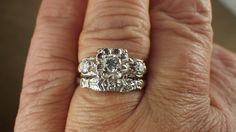 Vintage 18K White Gold Diamond Wedding Band by My3LadiesJewelry, $495.00