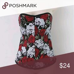 Black Red & White Corset bustier Great for Hallowe Premium Plastic Boned Corset are in ideal type of corset for waist cinching and shaping the body High Quality One of a Kind Design Red Roses and White Skulls on Black Lace up in back Hook in Front   Approx Length 16 inches Other