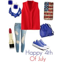 Happy 4th of July! by campanellinoo on Polyvore featuring polyvore, fashion, style, Frame Denim, Converse, Proenza Schouler, Kate Spade, BP. and Dolce&Gabbana