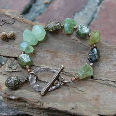 Green+Garnet+Prehnite+&+Copper+Bracelet+by+AmyWellsDesigns+on+Etsy,+$65.00