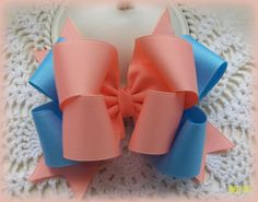Light Coral and Blue Double Boutique Hair Bow. $5.50, via Etsy.