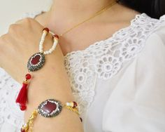 pearl hamsa #necklace,burgundy tassel necklace, hand #jewelry, turkish tassel necklace, hand shape jewelry set, hamsa necklace, kaballah bracelet, hand of fathima earrings, gemstone clay #amulet talisman charm spell, boho long chain 18 k yellow gold coated lucky accessories, hand boujix, kabbalah accessory, luck charm, talisman, spell, middle eastern, unique chain jewelry, drop natural stone hamsa shape boho lucky charm gift