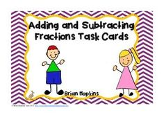 This set of task cards is for Adding and Subtracting Fractions with Unlike Denominators. These are not problem solving task cards. If you want the problem solving ones you can get them in my store by clicking HERE Adding And Subtracting Fractions, Math Fractions, Junior High Math, Math Activities, Math Games, Math Problem Solving, Math Task Cards, Fourth Grade Math, Math Intervention