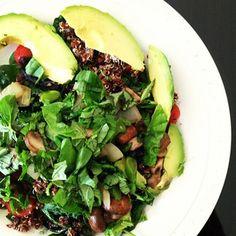 ... , onions, avocado, broccoli, quinoa, tomatoes, spirulina and basil
