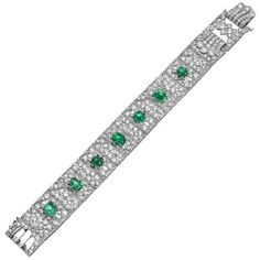 Solid 925 Sterling Silver Round Green Cabochon Vintage Style Party Bracelet Gift #NIKI #Tennis