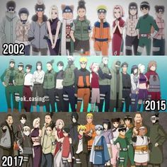 Top picture is from Naruto, middle pic is from Naruto Shippuden, bottom pic is from Boruto Naruto Uzumaki, Anime Naruto, Manga Anime, Got Anime, Naruto Sasuke Sakura, Shikamaru, Gaara, Naruhina, Hinata