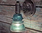 Items similar to Glass Insulator Wall Sconce Light with Built-In Switch Retro-Industrial Styling on Etsy