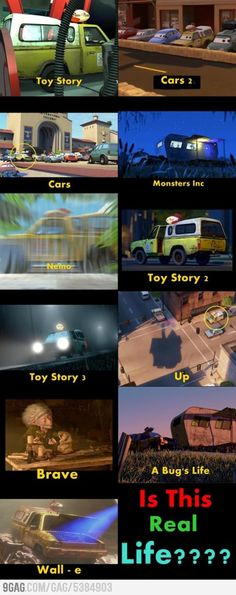 The pizza planet truck from Toy Story is in other Pixar movies. :D