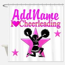 CHEERING TEAM Shower Curtain Calling all Cheerleaders! Shout and cheer for our awesome Cheerleading gifts.  http://www.cafepress.com/sportsstar/10189555  #Cheerleading #Cheerleader #Cheerleadergift #Lovecheerleading