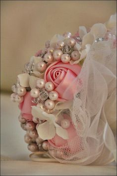 My DIY pearl and crystal bouquet :  wedding bouquet crystal diy engagement flower flowers ivory old school pearl pink theme vintage white IMG 2366