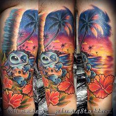 Lilo & Stich Tattoo by Kris.D Limited Availability @ Revelation Tattoo Studios Northampton. Rose Tattoos, Leg Tattoos, Body Art Tattoos, Tatoos, Turtle Tattoos, Disney Sleeve Tattoos, Leg Sleeve Tattoo, Tattoo Forearm, Lilo And Stitch Tattoo