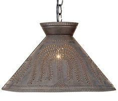 Large PUNCHED TIN PENDANT Handcrafted Primitive Country Willow Pattern Ceiling Light Rustic Colonial Lamp Made in USA