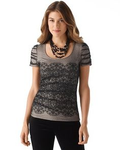 love this lace shirt!  White House | Black Market Lace Print Tee #whbm