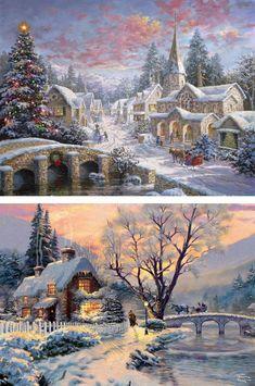 Vintage Christmas Images, Retro Christmas, Christmas Pictures, Christmas Art, Thomas Kinkade Art, Thomas Kinkade Christmas, Beautiful Winter Pictures, Winter Images, Christmas Scenery