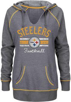 Pittsburgh Steelers Womens Grey Buttonhook Hoodie