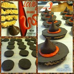 Witch's Hats  1 4.25-ounce tube orange or red decorating frosting 1 11 1/2-ounce package fudge-striped cookies (32 cookies) 1/2 13-ounce package milk chocolate kisses, unwrapped (32) DIRECTIONS Pipe a small mound of frosting in center of each chocolate-covered cookie bottom; press a chocolate kiss on frosting. Pipe a frosting band around base of each kiss. ❥ Share to save on your timeline ❥ or Tag yourself to save it to your photo album  ¸.•´*¨`*•✿•❥• ❥ Follow me…