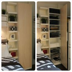 Choose the interior you want for the storage you need with a IKEA PAX closet system! Store shelves, baskets, pants hangers, shoes – and more!