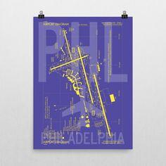 PHL Philadelphia Airport Diagram Poster